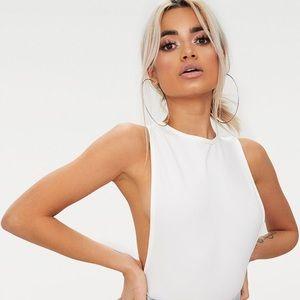 Side boob white bodysuit